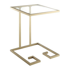 Grecian Key Base Glass Top Table, Gold