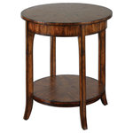 Uttermost - Uttermost Carmel Round Lamp Table - Casual Styling In Warm, Old Barn Finish With Distressed Primavera Veneer.