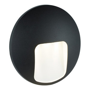Outdoor LED Single Disc Wall Light, Black
