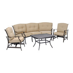 Traditions 4-Piece Patio Set With Cast-Top Coffee Table, Crescent Sofa