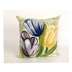 "Tulips Blue Pillow - 20"" SQ"