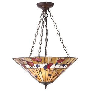 Bernwood Tiffany Style Large Inverted 3-Light Pendant, 60 W