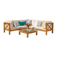Brava Patio Wooden Sectional, Water Resistant Cushions, 4 Piece Set, Beige