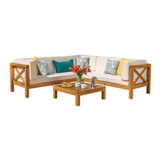 GDFStudio - Brava Patio Wooden Sectional, Water Resistant Cushions, 4 Piece Set, Beige - Outdoor Lounge Sets