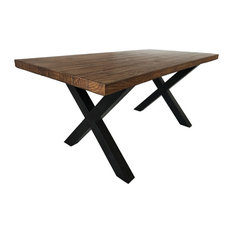 GDF Studio Melantha Indoor Brown Walnut Finish Lightweight Concrete Dining Table