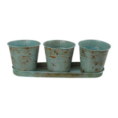 Planter 3-Piece Bucket With Tray, Teal