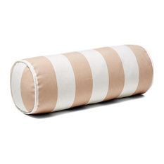 Outdoor Bolster Pillow With Piping, Beige