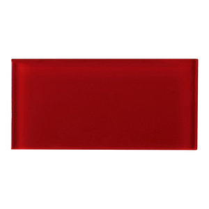"""3""""x6"""" Baker Glass Subway Tiles, Set of 8, Ruby Red"""