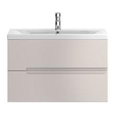 Urban Wall-Mounted Bathroom Vanity Unit, Gloss Cashmere, Deep Basin, 80 cm