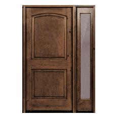 "Knotty Alder Top Rail Arch Door, R-Sidelite, 56""x80""x1.75"", Provincial, L-Hand"