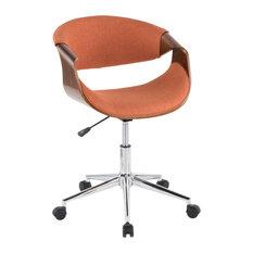 Lumisource Curvo Office Chair, Walnut Wood and Orange