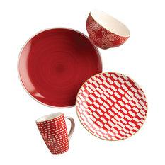 euro ceramica euro ceramica simpatico dinnerware 16 piece red dinnerware sets - Modern Dinnerware