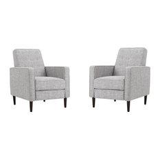 Marston Mid Century Modern Fabric Recliner, Set of 2, Light Gray Tweed
