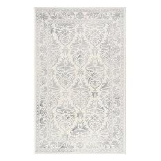 "Wool 9'6""x13'6"" Rectangle Area Rug, Gray"