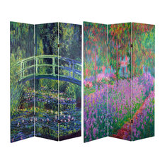 6' Tall Double Sided Works of Monet Canvas Room Divider, Water Lily/Garden