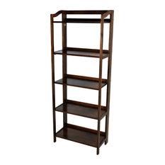 Stratford 3-Shelf Folding Bookcase, Warm Brown, 5-Shelf