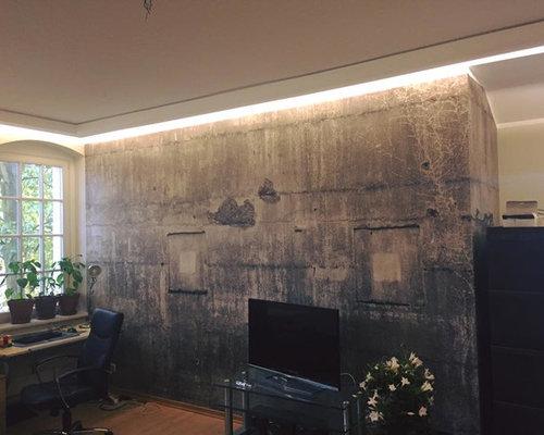 Indirekte Wandbeleuchtung indirekte wandbeleuchtung mit lichtvouten und tapete im betonlook