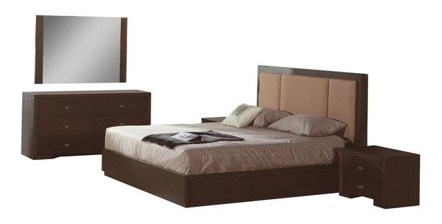 atlas bedroom set, taupe, full size bed, 2 nightstands, dresser
