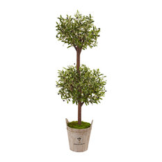 5 ft. Olive Artificial Tree with Farmhouse Planter in Green