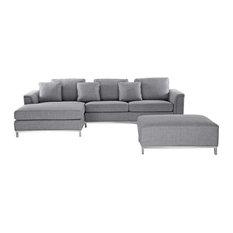 Oslo Grey Sectional Sofa, Light Grey