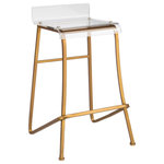 """Statements by J - Acrylic Counter Stool - Modern acrylic stool with gold legs. Seat height: 24"""", Footrest height from the floor: 9"""""""