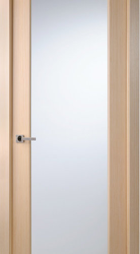 Contemporary Bleached Oak Veneer Interior Single Door, Frosted Glass   Interior  Doors
