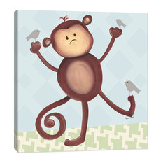 doodlefish matthew monkey artwork blue kids wall decor - Monkey Bedroom Decor