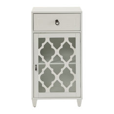 HomeRoots Office, Floor Cabinet, MDF, Glass, White