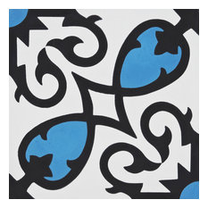 "8""x8"" Agadir Handmade Cement Tile, Blue/Black, Set of 12"