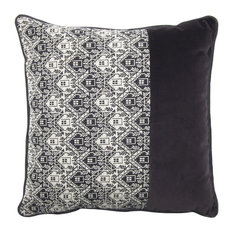 Square Patterned Cushion, Grey and White
