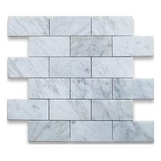 Carrara Polished Tile Arabescato Brick Pattern, Sample