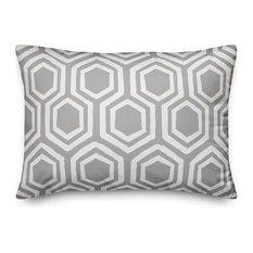 Gray and White Honeycomb 14x20 Lumbar Pillow