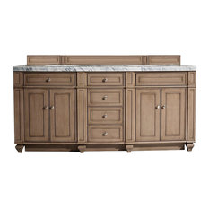 "Bristol 72"" Whitewashed Walnut Double Vanity w/ 3cm Arctic Fall Top"