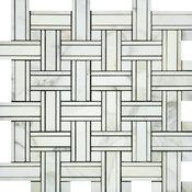 Calacatta Florence Tripleweave Mosaic With Calacatta Florence Dots, Polished,