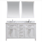 "Ove Tahoe 60"" Vanity, White, Carrera Marble Vanity Top And Mirror"