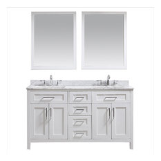 """Tahoe Double Vanity Set With Mirrors, 60"""", White With Carrara Marble Top"""