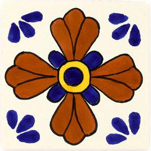 Handmade Tierra y Fuego Ceramic Tile, Blue Seville, Set of 9