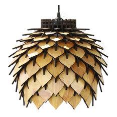 Spore Lamp, Laser Cut Parametric Lantern, Natural Wood Tone