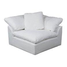 Slipcovered Modular Corner Arm Chair in Performance White
