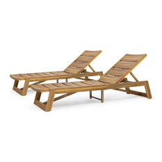 Angela Outdoor Wood and Iron Chaise Lounges, Set of 2, Teak Finish, Yellow
