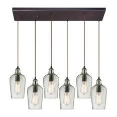 Elk Lighting Hammered Glass 10331/6RC-CLR 6-Light Pendant, Oil Rubbed Bronze