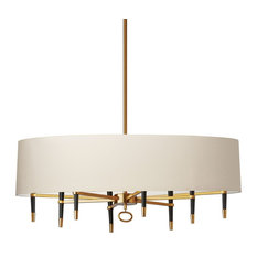Langford 8-Light Incandescent Horizontal Vintage Bronze Chandelier, Shade: Cream