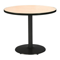 36-inch Round Pedestal Table With Natural Top Round Black Base