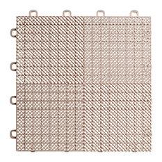 "12""x12"" Interlocking Deck/Patio Flooring Tiles, Perforated, Set of 30, Beige"