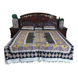 Mogul Interior - Indian Bedding Bed Cover Cotton India Inspired Print Bedspread Cushion Covers - Quilts And Quilt Sets