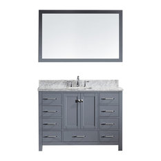 "Virtu Caroline Avenue 48"" Single Bathroom Vanity, Gray With Marble Top, Mirror"