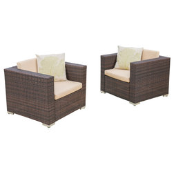 Tropical Outdoor Lounge Chairs by GDFStudio