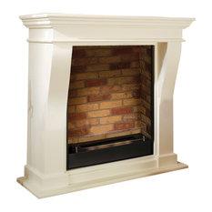 Kreta Faux Brick Fireplace With Ceramic Burner, White Wood, 105x99 cm