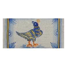 "Bird Rectangle Tile, San Donato, Made in Castelli, Italy, 4""x8"""