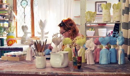 Houzzツアー:光と色があふれる、陶芸家の美しくて心地よいアトリエ
